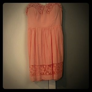 Peach Color Strapless Dress